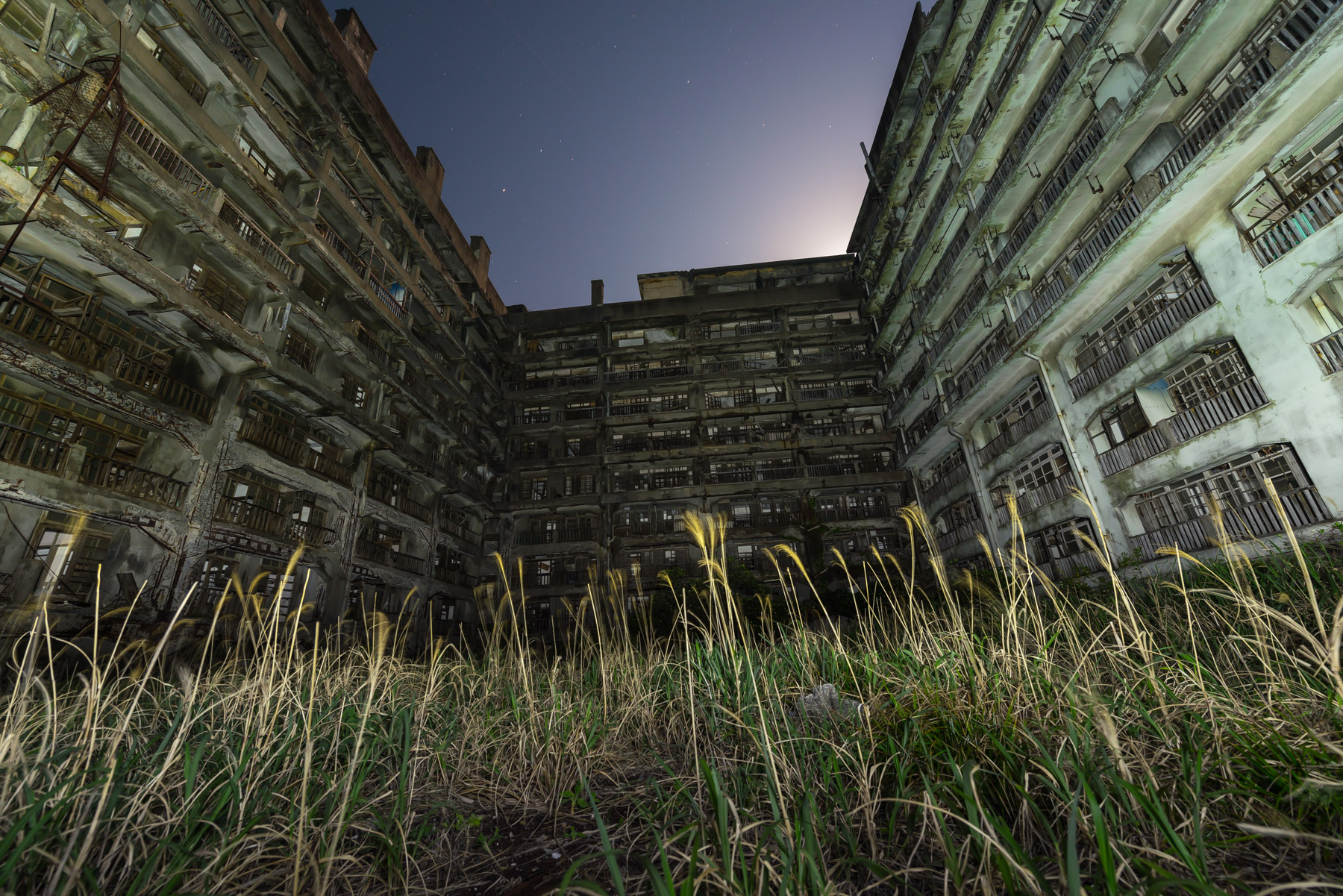 Gunkanjima Block 65 at Night